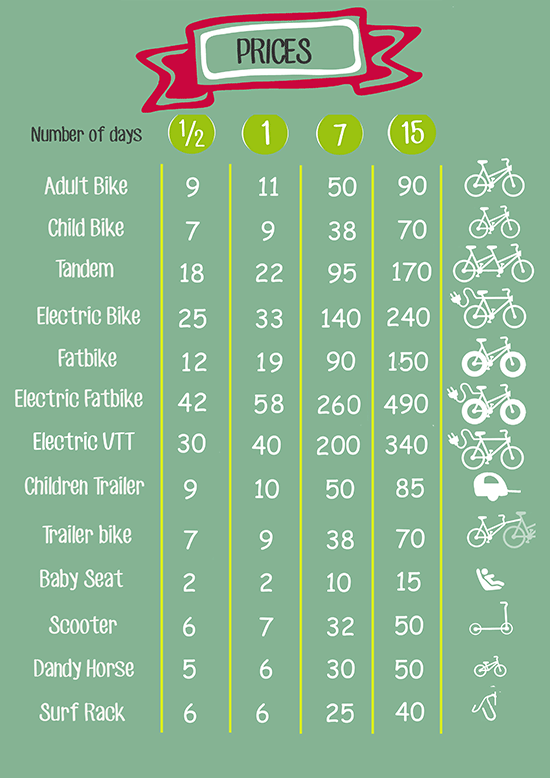 Prices table of the bicycle rental in Carcans